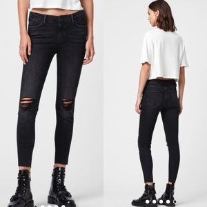 Allsaints Grace Cropped Ankle Fray Skinny Jeans